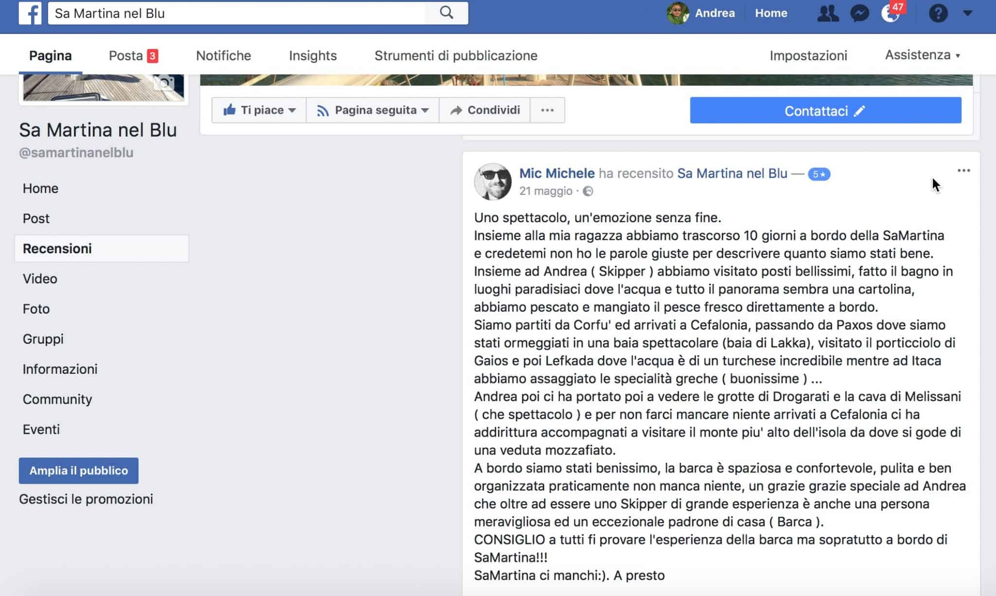 Michele, Ospite per 10 giorni tra Corfù e Cefalonia a maggio